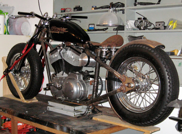 chopper parts, mooneyes oil tank, flanders handlebars, offset risers, chopper shox, seatpan, west eagle fender